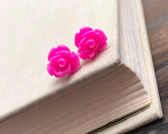Small Bright Pink Carved Icing Rose Stud Earrings with Surgical Steel Posts (LB7)