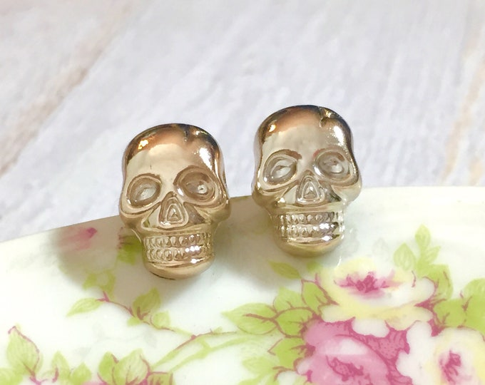 Featured listing image: Metallic Gold Lightweight Acrylic Skull Stud Earrings with Surgical Steel Ear Wires, Day of the Dead, Halloween (SE16)