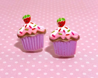 Purple Cupcake Studs with Sprinkles and a Strawberry on Top, Food Studs, Kawaii Studs, Cute Studs, Large Fun Novelty Studs, KreatedbyKelly