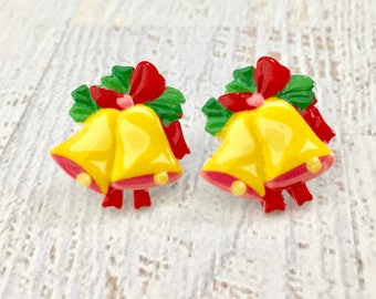 Festive Yellow Christmas Bell with Red Bow and Green Leaves Novelty Stud Earrings, Surgical Steel (SE12)