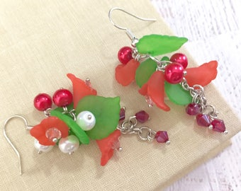 Vintage Bell Flowers, Leaves and Pearls Cluster Dangle Earrings in Christmas Red and Green