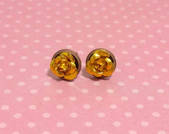 Tiny Little Gold Metal Rose Flower Dainty Stud Earrings in Setting Like a Potted Plant