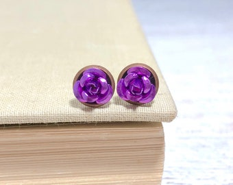 Tiny Little Purple Metal Rose Flower Dainty Stud Earrings in Setting Like a Potted Plant