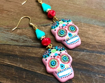 Pink Day of the Dead Sugar Skull with Painted Face Beaded Dangle Halloween Earrings with Surgical Steel Ear Wires (LB7)