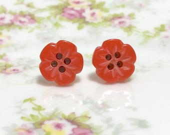 Heavily Carved Iridescent Orange Five Petal Flower Sewing Button Stud Earrings with Surgical Steel Posts (LB1)