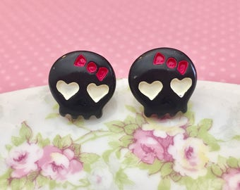 Cute Girlie Black Skull Stud Earrings with White Heart Eyes, Pink Bow and Surgical Steel Posts (SE16)