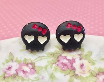 Cute Girlie Black Skull Stud Earrings with White Heart Eyes, Pink Bow and Surgical Steel Posts