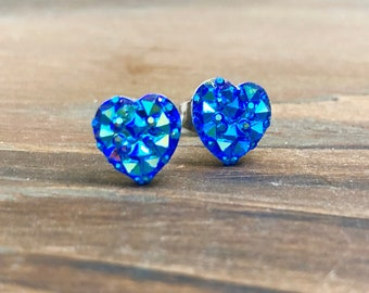 Little Valentine's Day Heart Stud Earrings in Sparkling Blue with Surgical Steel Posts (SE11)
