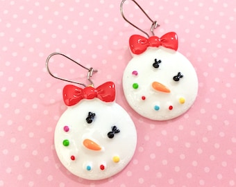 Cute As Can Be Snowman Girl with Colorful Smile, Carrot Nose, and Red Bow Big Novelty Christmas Earrings, Surgical Steel