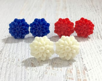 Fourth of July Chrysanthemum Mum Flower Stud Earring Set in Red White and Blue with Surgical Steel Posts