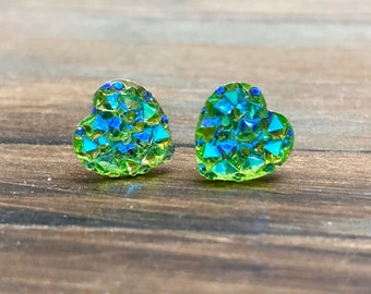 Little Valentine's Day Heart Stud Earrings in Sparkling Green with Surgical Steel Posts (SE11)