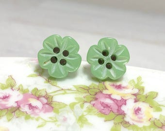 Heavily Carved Iridescent Green Five Petal Flower Sewing Button Stud Earrings with Surgical Steel Posts (LB1)