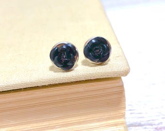 Tiny Little Black Metal Rose Flower Dainty Stud Earrings in Setting Like a Potted Plant