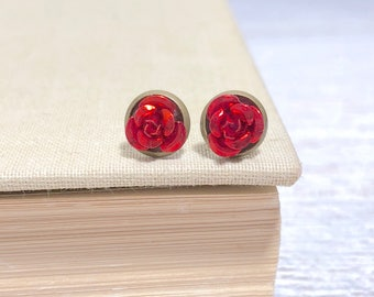 Tiny Little Red Metal Rose Flower Dainty Stud Earrings in Setting Like a Potted Plant