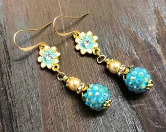 Enameled Metal Aqua Rhinestone Flower Earrings with Sparkly Ball Bead, Rhinestone, Gold Toned Findings and Pearl Dangle