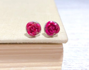 Tiny Little Pink Metal Rose Flower Dainty Stud Earrings in Setting Like a Potted Plant