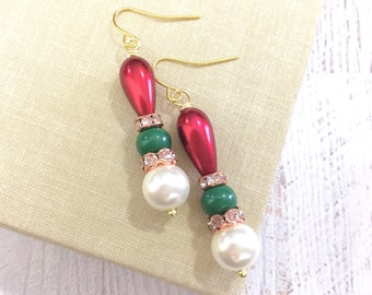 Fancy Pearl and Rhinestone Christmas Earrings in Red, Green and White with Surgical Steel Ear Wires