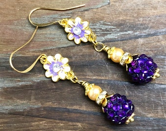 Enameled Metal Purple Rhinestone Flower Earrings with Sparkly Ball Bead, Rhinestone, Gold Toned Findings and Pearl Dangle
