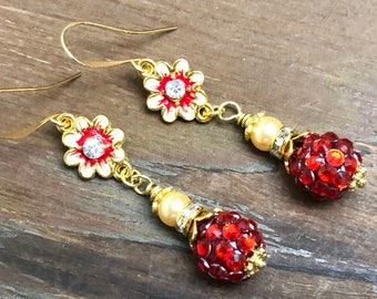 Enameled Metal Red Rhinestone Flower Earrings with Sparkly Ball Bead, Rhinestone, Gold Toned Findings and Pearl Dangle