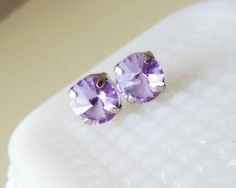 Purple Rhinestone Earrings, Lavender Glass Earrings, Bridesmaid Gift, Glamorous Chunky Earrings, Lavender Rhinestone Earrings