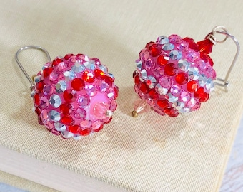Chunky Red Pink and Silver Sparkling Rhinestone Studded Ball Valentine's Day Earrings with Kidney Surgical Steel Ear Wires