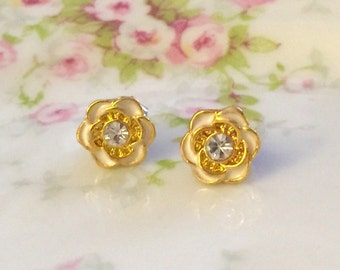 Tiny Flower Studs, Rhinestone Flower Studs, Bridal Flower Earrings, Bridesmaid Gift Earrings, Ivory Gold Flower Studs