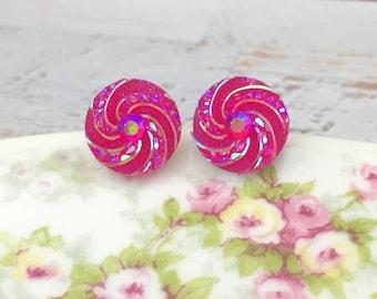 Pink Galaxy Studs, Glitter Pink Swirl Studs, Pink Druzy Studs, Pink Rhinestone Studs, Surgical Steel Studs, KreatedbyKelly (SE12)