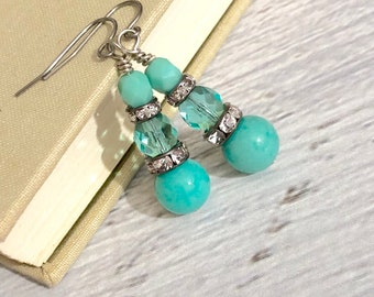 Aqua Glass Beaded Dangle Earrings with Rhinestones and Surgical Steel Ear Wires (DE3)