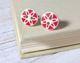 Red Daisy Studs, Vintage Button Studs, Red Sewing Button Earrings, Red Flower Earrings, Handmade Button Jewelry By KreatedByKelly (SE3)