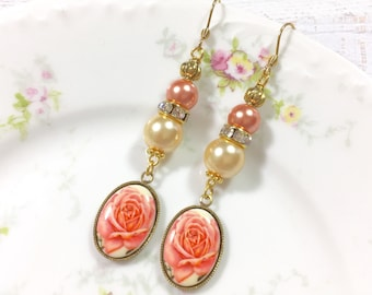 Vintage Peach Rose Cameo Earrings, Beaded Pearl and Rhinestone Earrings, Long Dangle Earrings, Vintage Assemblage Earrings