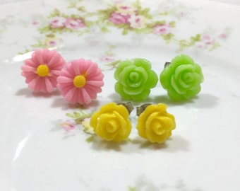 Stud Earring Set, Pink Flower Stud Earrings Set, Green Rose Studs, Yellow Rose Studs, Pink Daisy Studs, Floral Studs, KreatedByKelly (ES1)