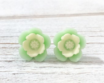Made to Order Resin Mint Green Daisy Flower Stud Earring with Ivory Center and Surgical Steel Posts KreatedByKelly (SE10)