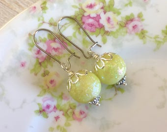 Lime Green Candy Ball Drop Earrings with Surgical Steel Kidney Ear Wires