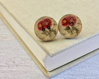 Natural Wood Buttons with Printed Red Daisies Stainless Surgical Steel Stud Earrings