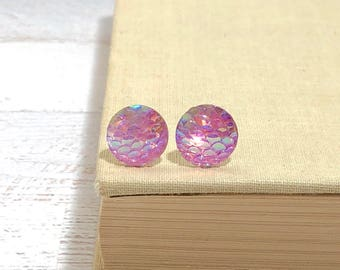 Pink Iridescent Dragon Scale Mermaid Tail Studs with Surgical Steel Posts (SE16)