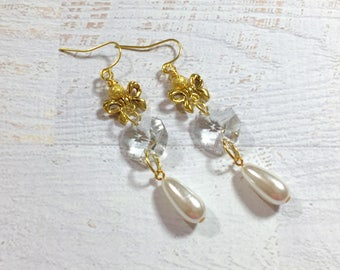 Long Dangle Earrings, Vintage Assemblage Earrings, Unique Wedding Earrings, Crystal Glass Prism Earrings, Gold Bow Earrings, Pearl Earrings