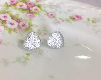 Little Clear Sparkling Bumpy Druzy Valentine's Day Heart Stud Earrings with Surgical Steel Posts (SE13)