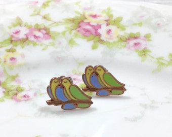 Dove Lovebird Studs, Love Bird Stud Earrings, Vintage Enameled Metal Studs, Nature Lover Stud Earrings, Kissing Bird Studs (TS07)