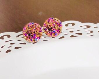 Rose Gold Druzy Studs, Rose Gold Earrings, Faux Druzy Gemstone Stud Earrings, Metallic Studs, Surgical Steel Studs, Druzy Jewelry (SE2)