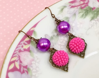 Retro Earrings, Bright Pink Flower Earrings, Assemblage Earrings, Purple Pearl Earrings, Funky Pom Pom Flower Earrings, KreatedByKelly