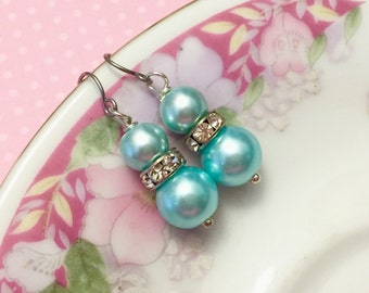 Aqua Pearl Earrings, Aqua Rhinestone Earrings, Aqua Pearl Drop Earrings, Short Dangle Earrings, Aqua Earrings, KreatedByKelly