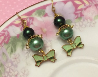 Green Bow Earrings, Vintage Assemblage Earrings, Green Pearl Earrings, Quirky Bow Earrings, Metal Charm Earring, Handmade By KreatedByKelly
