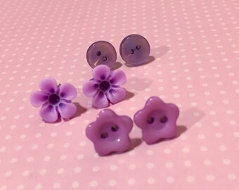 Earring Gift Set, Purple Button Studs, Purple Flower Earrings, Purple Daisy Studs, Stocking Stuffer, Fun Gift Idea, KreatedByKelly (ES1)