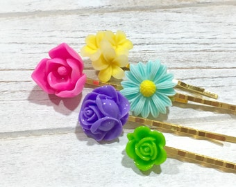 Floral Hair Accessories, Colorful Bobby Pin Set, Flower Bobby Pins, Pink Lotus Flower Pin, Purple Rose Pin, Aqua Daisy Pin, Yellow Pin