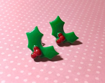 Christmas Holly Earrings, Fun Christmas Flower Studs, Holly Berry Studs, Christmas Studs, Holiday Jewelry, Surgical Steel (SE10)