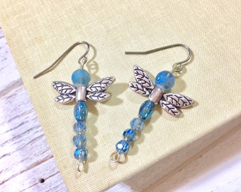 Beaded Dragonfly Earrings, Blue Dragonfly Earrings, Bug Dangle Earrings, Woodland Earrings, Nature Earrings, Insect Earring, KreatedbyKelly
