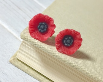 Red Poppy Stud Earrings, Red Poppy Studs, Red Flower Studs, Stainless Steel Studs, Red Floral Studs (SE9)