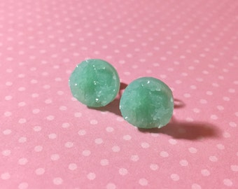 Mint Green Druzy Studs, Pastel Green Stud Earrings, Mint Green Drusy Studs, Druzy Jewelry, Surgical Steel Studs, KreatedByKelly (SE5)