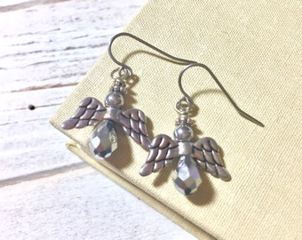 Dainty Angel Earrings, Silver Angel Earrings, Glass Beaded Angel Earrings, Tibetan Silver Wings, Tiny Angel Earrings, Surgical Steel (DE1)