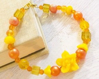 Cheerful Yellow and Orange Lampwork Glass Flower and Czech Glass Bead Bracelet